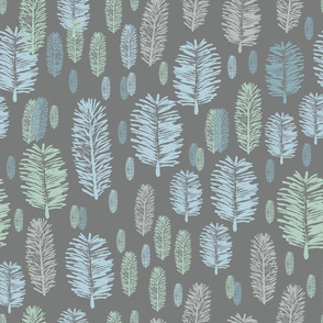 Winter Forest-Virgin Forest illustration seamless Repeat Pattern Background