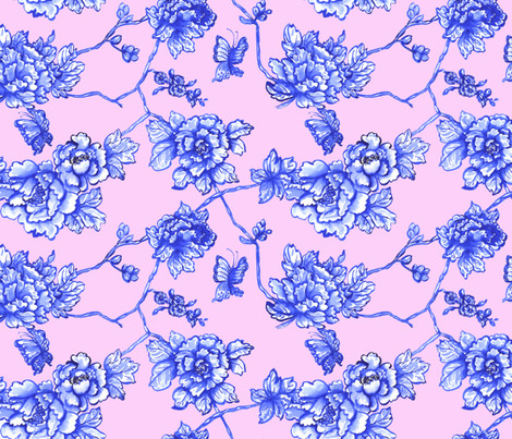 chinoiserie floral on blush fabric by mjmstudio on Spoonflower - custom fabric