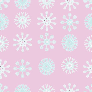 baby blue snowflakes on pink background