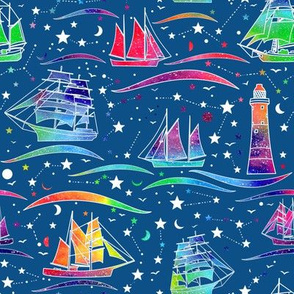 Sailing Ships - blue & rainbow