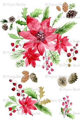 Holiday Poinsettia Watercolor(200/2)