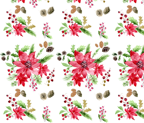 Holiday Poinsettia Watercolor(200/2) fabric by fade-into_nature on Spoonflower - custom fabric