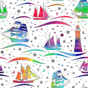 Sailing Ships - white b& rainbow