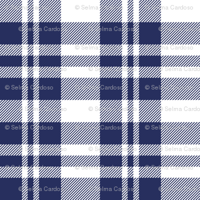 Hygge Christmas plaid pattern // white and navy blue