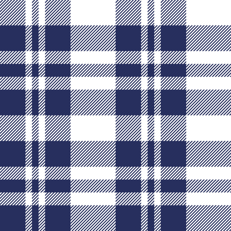 Hygge Christmas plaid pattern // white and navy blue fabric by selmacardoso on Spoonflower - custom fabric