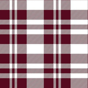 Hygge Christmas plaid pattern // white and red bordeaux