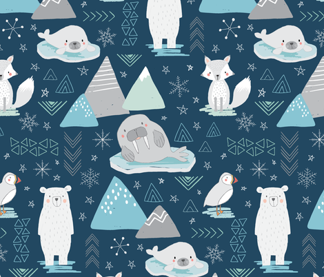 Animals of the Arctic - larger scale fabric by red_raspberry_designs on Spoonflower - custom fabric