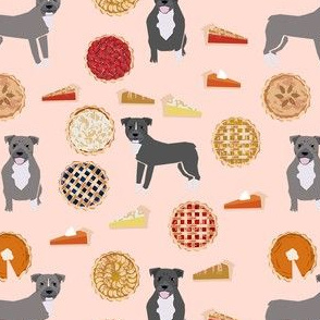 thanksgiving pies pitbull fabric  - dogs and pies fabric, pitbull fabric, cute pitbull fabric, pitbulls, thanksgiving, pies fabric, food fabric -  light