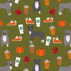 pumpkin spice latte pitbull fabric - cute pitbull fabric, pitbull fabric, dog fabric, dog design, cute dog -  olive