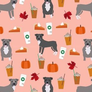 pumpkin spice latte pitbull fabric - cute pitbull fabric, pitbull fabric, dog fabric, dog design, cute dog -  peach