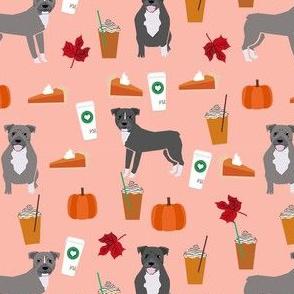 pumpkin spice latte pitbull fabric - cute pitbull fabric, pitbull fabric, dog fabric, dog design, cute dog -  peach