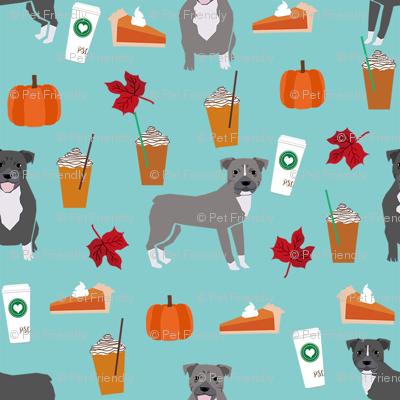pumpkin spice latte pitbull fabric - cute pitbull fabric, pitbull fabric, dog fabric, dog design, cute dog - blue