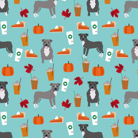 pumpkin spice latte pitbull fabric - cute pitbull fabric, pitbull fabric, dog fabric, dog design, cute dog - blue fabric by petfriendly on Spoonflower - custom fabric