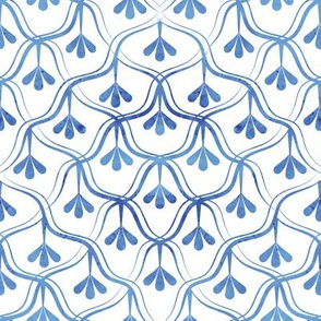 Decorative Christmas pattern // small scale // white and blue