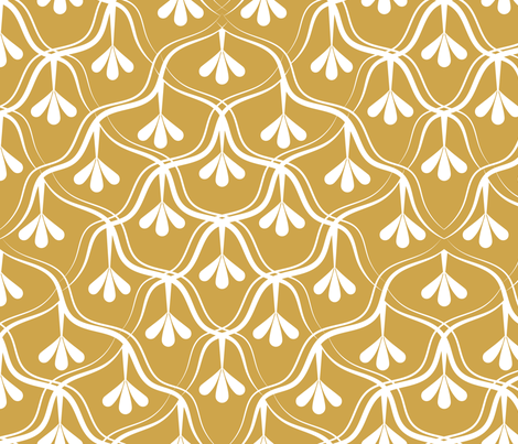Decorative Christmas pattern // normal scale // white and yellow fabric by selmacardoso on Spoonflower - custom fabric