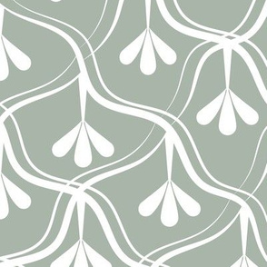Decorative Christmas pattern // normal scale // white and green