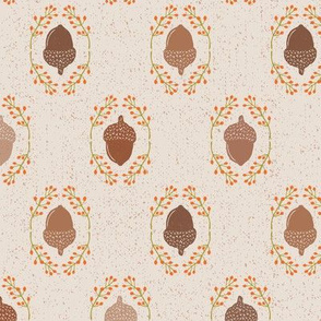 Bold Shades of Brown Autumn Acorn + Rosehip Textured Damask // Sing for Your Supper Modern Farmhouse Collection // Autumn Edition
