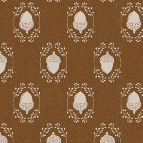 Brown + Cream Autumn Acorn + Rosehip Textured Damask // Sing for Your Supper Modern Farmhouse Collection // Autumn Edition