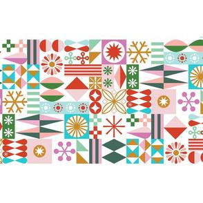 Santa's Workshop Tea Towel*    geometric star stars starburst snowflake snowflakes grid christmas holiday stripes cut and sew diy kitchen