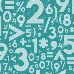 Turquoise Blue Textured Numbers + Symbols // STEM, STEAM, Math, Science, Engineering Education