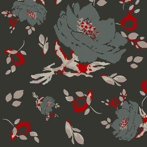 DAVK Design - Olive Watercolor flowers Pattern