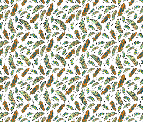 Southwest Feathers fabric by heart_journey_studio on Spoonflower - custom fabric