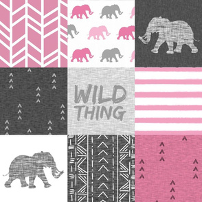 Wild Thing Elephant Quilt - raspberry and grey