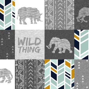 Wild Thing Safari Quilt - grey, navy, mint, gold