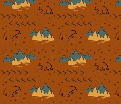 Terracotta Bears with Stars fabric by huffernickel on Spoonflower - custom fabric