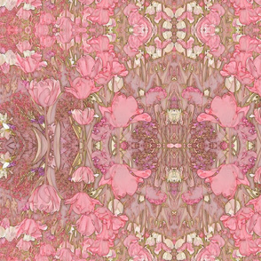 Bohemian Victorian Soft Pink Tulips on Beige