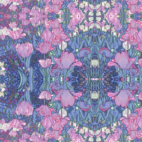 Victorian Bohemian Tulips in Cool Pink and Blues