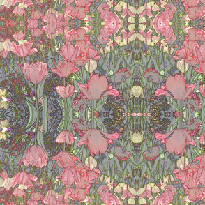 Victorian Bohemian Tulips in Soft Pink and Sage Green