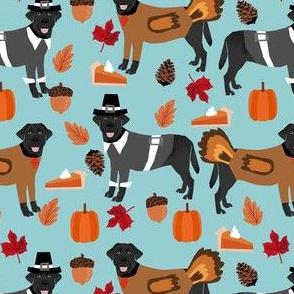 thanksgiving black labrador fabric - black lab fabric, doodle dog fabric, thanksgiving fabric, cute dog fabric, dog breeds fabric, - blue