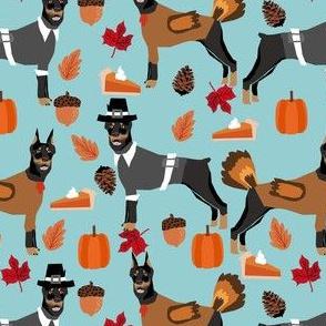 thanksgiving doberman fabric - doberman fabric, doodle dog fabric, thanksgiving fabric, cute dog fabric, dog breeds fabric, - blue