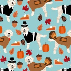 thanksgiving golden doodle fabric - golden doodle fabric, doodle dog fabric, thanksgiving fabric, cute dog fabric, dog breeds fabric, - blue