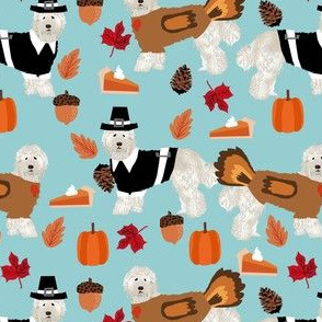 labradoodle thanksgiving fabric - dog, dogs, cute dog, labradoodles, cream labradoodle, fall, pumpkin