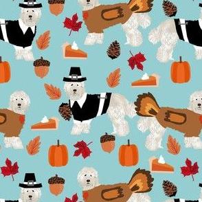 labradoodle thanksgiving fabric - dog, dogs, cute dog, labradoodles, cream labradoodle, fall, pumpkin