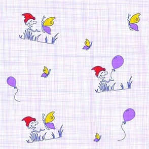 friendly garden gnome on linen texture - lilac