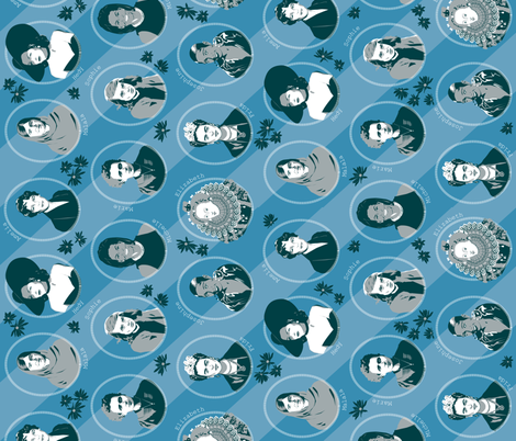 inspiring women blue-grey - rotated fabric by michaelakobyakov on Spoonflower - custom fabric