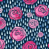 watercolour raindrops on roses - ink background