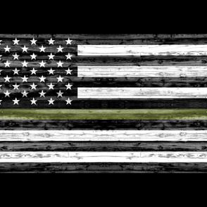 "1 yard cut (54"" width) - thin green line - army  green on black C18BS"