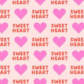 sweet heart - valentines- pink & red on pink