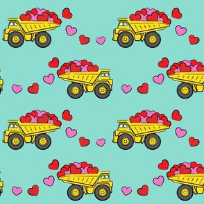 tons of love - valentines day trucks with hearts -  aqua