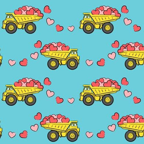 tons of love - valentines day trucks with hearts -  blue p