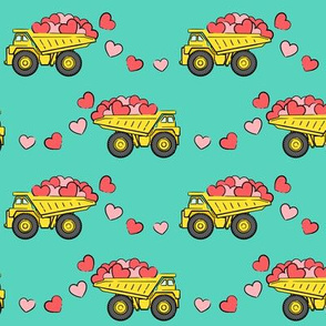 tons of love - valentines day trucks with hearts -  teal p