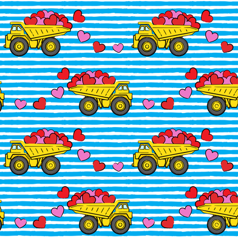 tons of love - valentines day- trucks with hearts -  blue stripes fabric by littlearrowdesign on Spoonflower - custom fabric