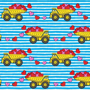 tons of love - valentines day- trucks with hearts -  blue stripes