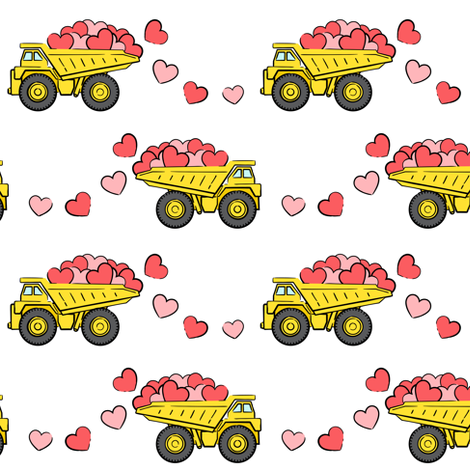 tons of love - valentines day- trucks with hearts - white p fabric by littlearrowdesign on Spoonflower - custom fabric