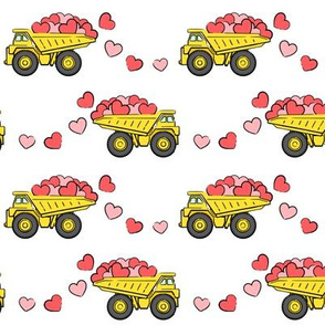 tons of love - valentines day- trucks with hearts - white p