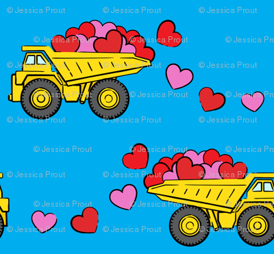 tons of love - valentines day- trucks with hearts -  blue